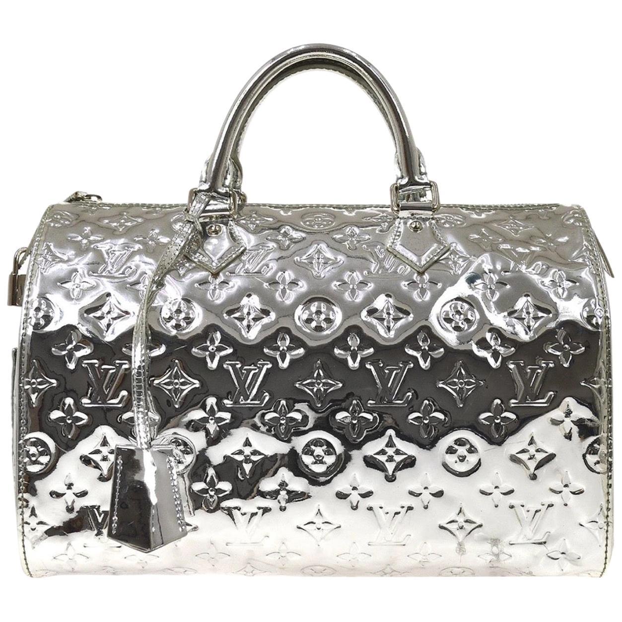 Louis Vuitton Silver Monogram Miroir Speedy 30 Top Handle Shoulder Bag