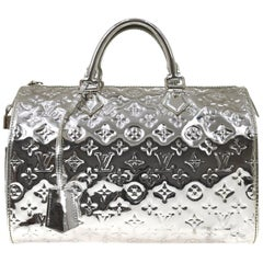 Louis Vuitton Silver Monogram Miroir Speedy 30 Top Handle Shoulder Bag