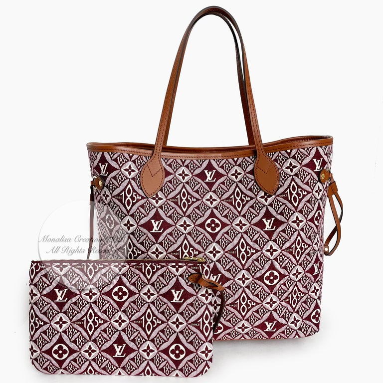 Authentic Louis Vuitton Since 1854 Neverfull MM in Bordeaux. From the Fall 2020 collection, this color way now sold out online. Nicolas Ghesquière's canvas pays tribute to LV's historic symbols. Bordeaux canvas/calfskin leather handles. Lined in