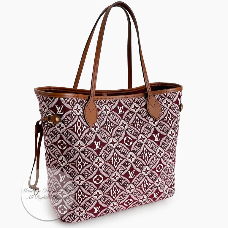 Beige Louis Vuitton Since 1854 Neverfull Tote Bag Bordeaux + Removable Pouch in Box  For Sale