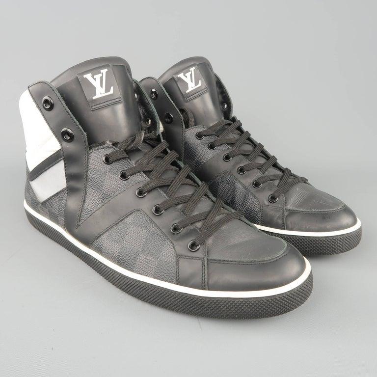 9d4e42ab6e8b Men s LOUIS VUITTON Sneaker 10 Black   Gray Damier Leather Reflective High  Top For Sale 1
