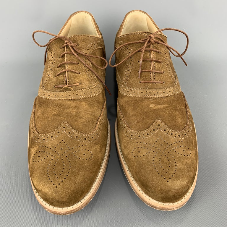 LOUIS VUITTON Size 11.5 Perforated Brown Leather Wingtip Lace Up In Excellent Condition For Sale In San Francisco, CA