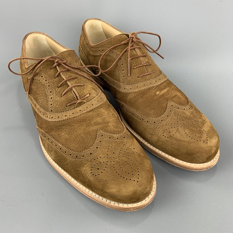 Men's LOUIS VUITTON Size 11.5 Perforated Brown Leather Wingtip Lace Up For Sale