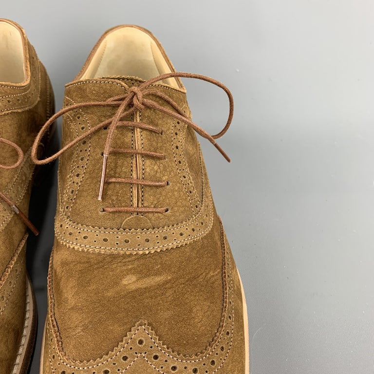LOUIS VUITTON Size 11.5 Perforated Brown Leather Wingtip Lace Up For Sale 1