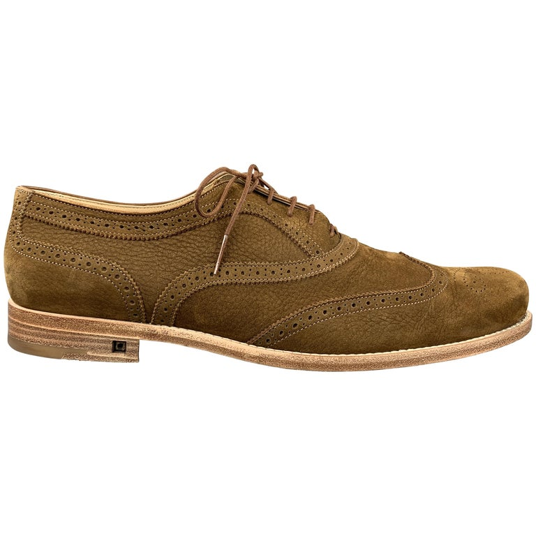 LOUIS VUITTON Size 11.5 Perforated Brown Leather Wingtip Lace Up For Sale