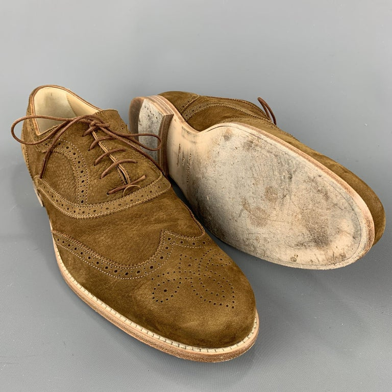 LOUIS VUITTON Size 11.5 Perforated Brown Leather Wingtip Lace Up Shoes In Excellent Condition For Sale In San Francisco, CA
