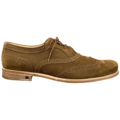 LOUIS VUITTON Size 11.5 Perforated Brown Leather Wingtip Lace Up Shoes