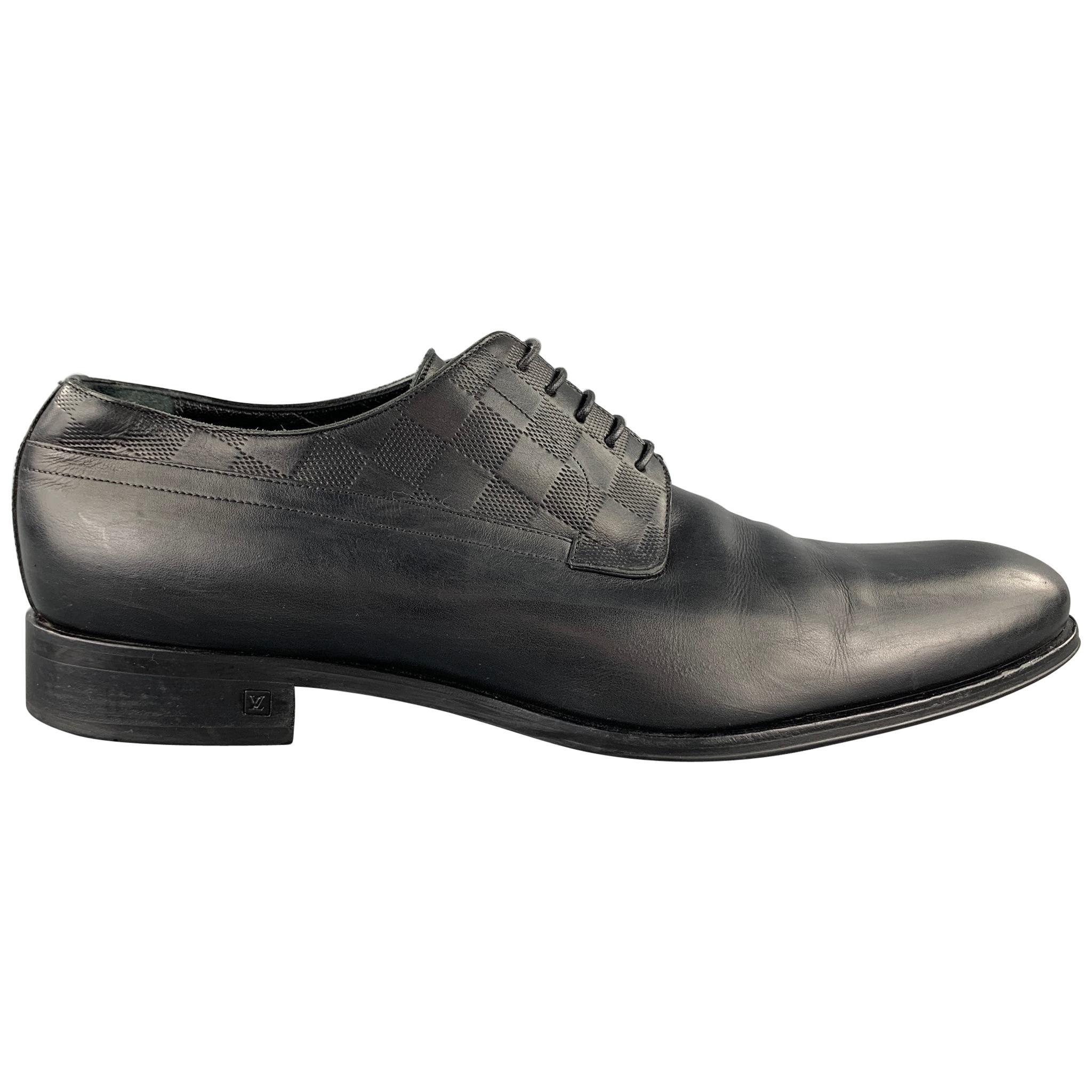 LOUIS VUITTON Size 12 Black Damier Leather Lace Up Dress Shoes