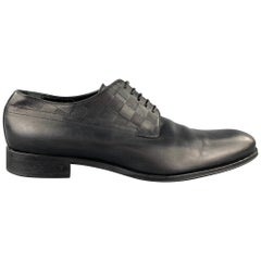 LOUIS VUITTON Size 12 Black Damier Leather Lace Up Dress Shoes
