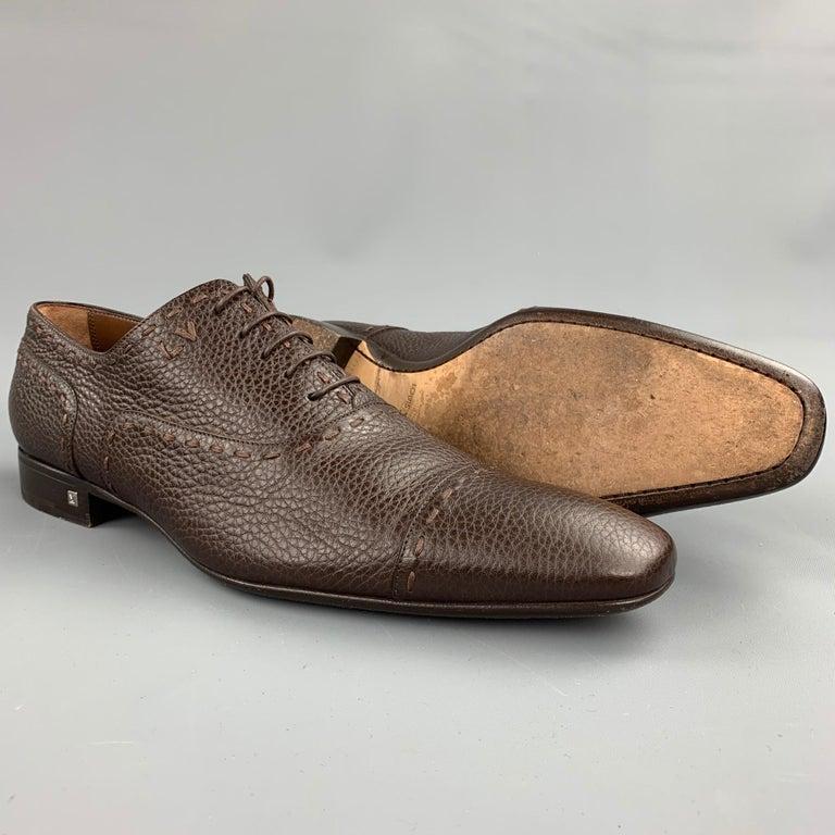 Black LOUIS VUITTON Size 12 Brown Textured Leather Cap Toe Lace Up Shoes For Sale