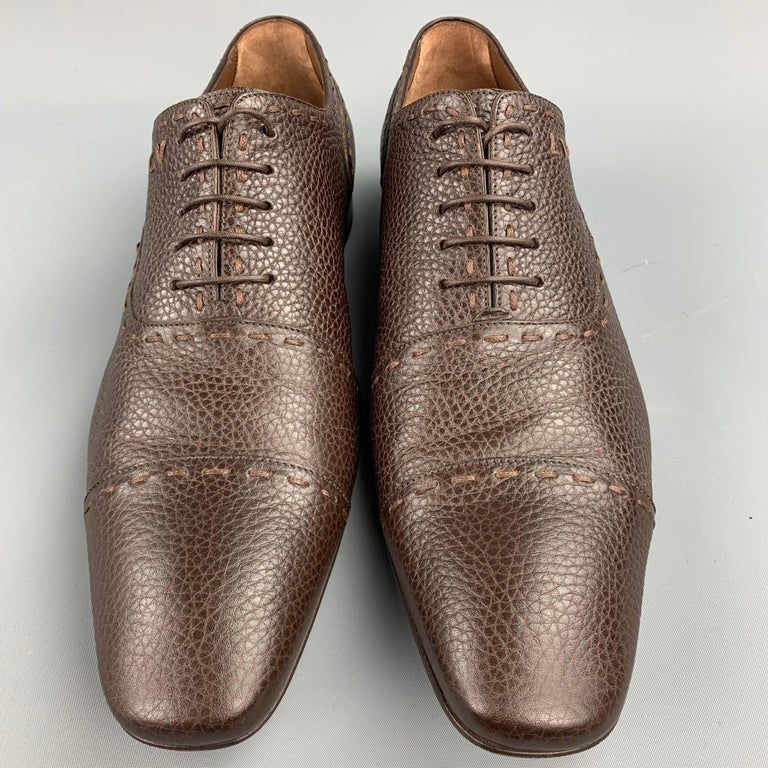 LOUIS VUITTON Size 12 Brown Textured Leather Cap Toe Lace Up Shoes In Good Condition For Sale In San Francisco, CA