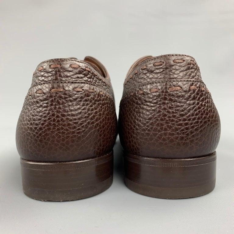 Men's LOUIS VUITTON Size 12 Brown Textured Leather Cap Toe Lace Up Shoes For Sale