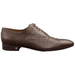 LOUIS VUITTON Size 12 Brown Textured Leather Cap Toe Lace Up Shoes