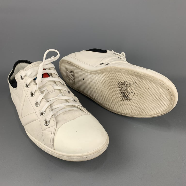 Beige LOUIS VUITTON Size 12 Off White Leather Black Trim Lace Up Sneakers For Sale