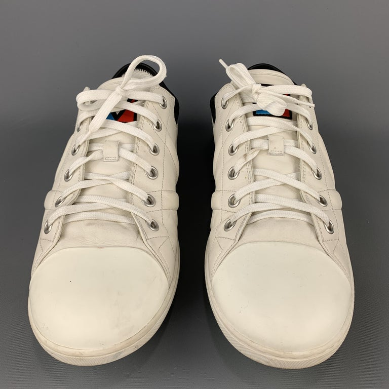 LOUIS VUITTON Size 12 Off White Leather Black Trim Lace Up Sneakers In Good Condition For Sale In San Francisco, CA
