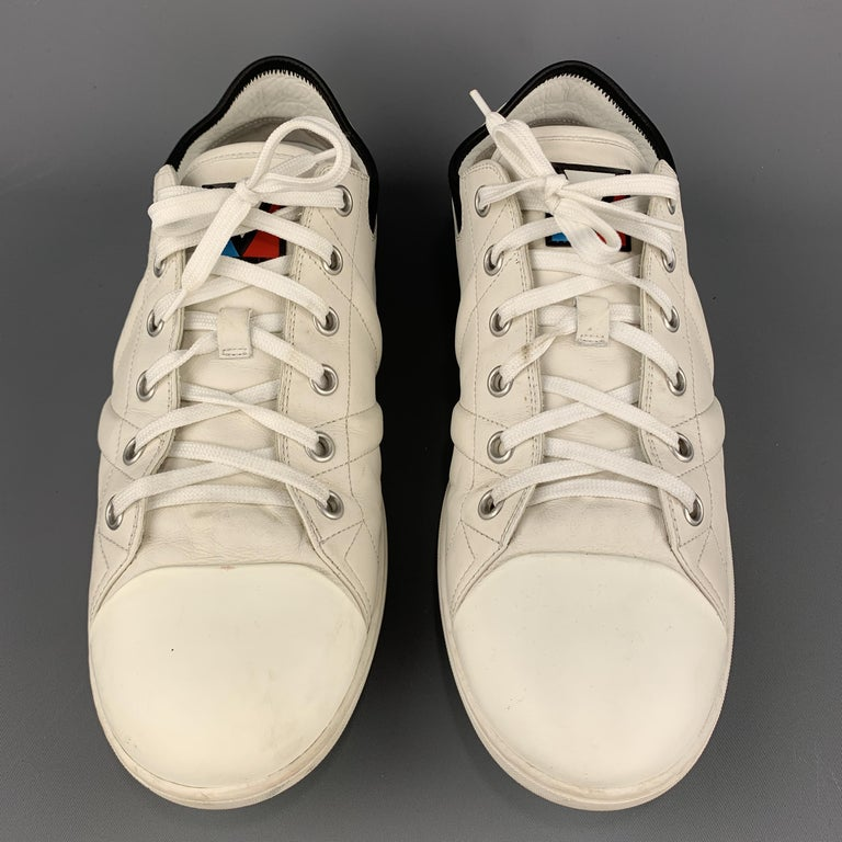 Men's LOUIS VUITTON Size 12 Off White Leather Black Trim Lace Up Sneakers For Sale