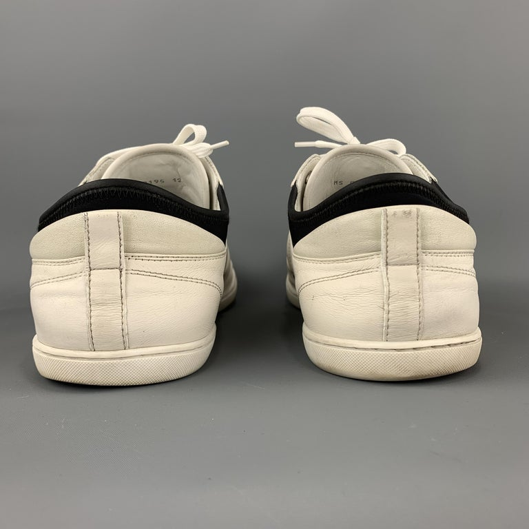 LOUIS VUITTON Size 12 Off White Leather Black Trim Lace Up Sneakers For Sale 2