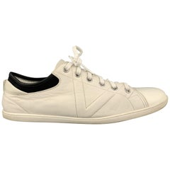 LOUIS VUITTON Size 12 Off White Leather Black Trim Lace Up Sneakers