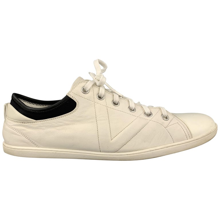 LOUIS VUITTON Size 12 Off White Leather Black Trim Lace Up Sneakers For Sale