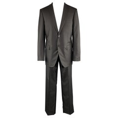 LOUIS VUITTON Size 40 Black Striped Wool / Silk Notch Lapel Suit