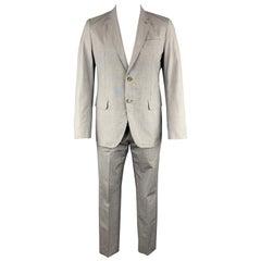 LOUIS VUITTON Size 42 Grey Stripe Textured Cotton Notch Lapel Suit