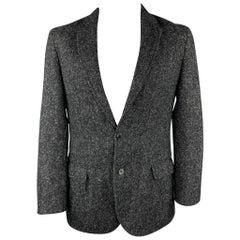 LOUIS VUITTON Size 44 Black & Grey Textured Wool / Alpaca Sport Coat