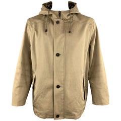 LOUIS VUITTON Size 46 Khaki Coated Cotton Hooded Damier Lined Parka Coat