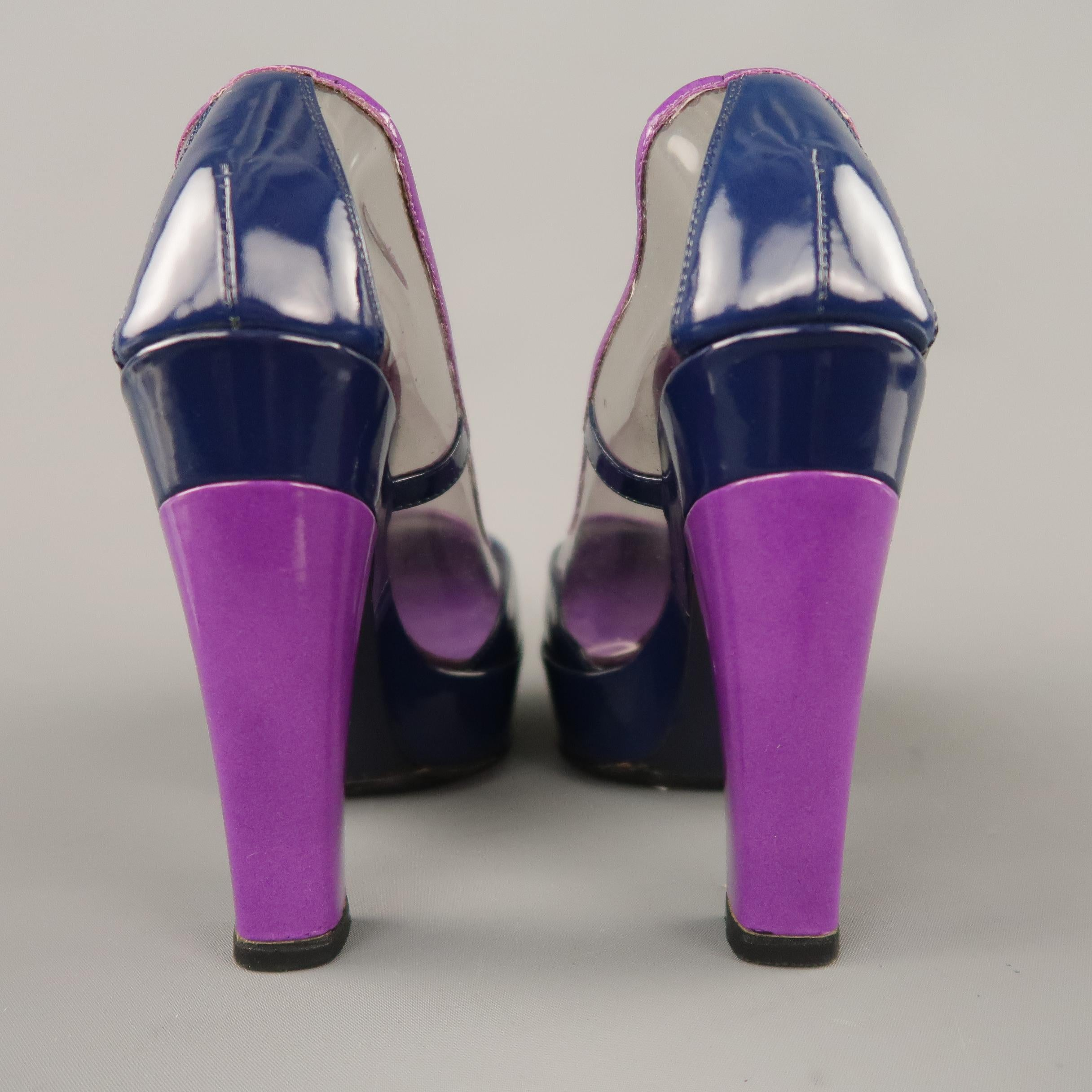 dbad0ad659 LOUIS VUITTON Size 6 Purple and Navy Clear Vinyl and Patent Leather  Platform Pumps For Sale at 1stdibs
