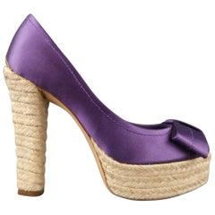 LOUIS VUITTON Size 6 Purple Silk Open Bow Toe Espadrille Pumps