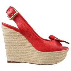 LOUIS VUITTON Size 6 Red Leather Bow Peep Toe Platform Espadrille Wedge