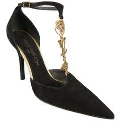 LOUIS VUITTON Size 7 Black Suede Gold Monogram Charm T Strap Pumps