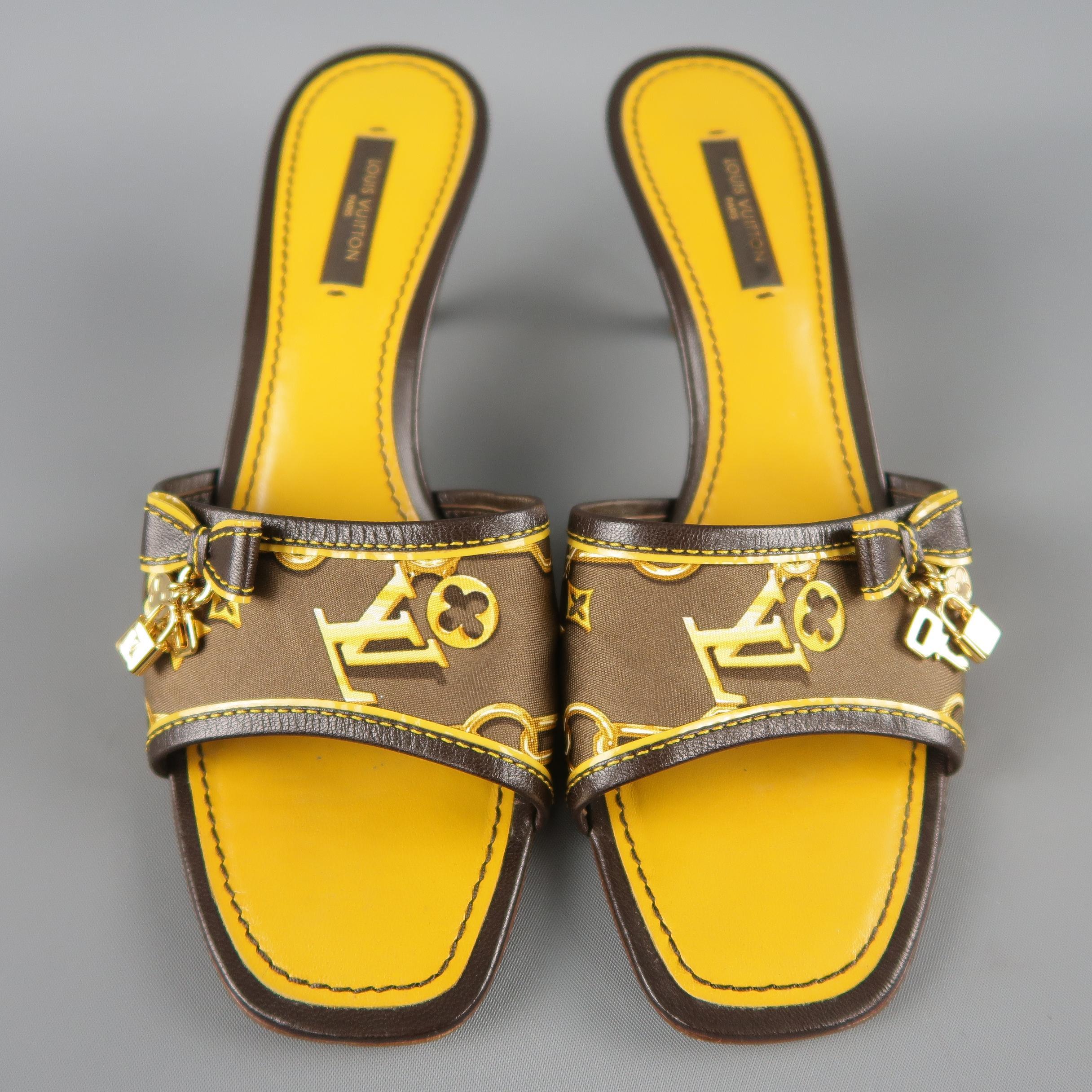 41b72959d00c LOUIS VUITTON Size 7.5 Brown Silk Charms Cabas Kitten Heel Mules at 1stdibs