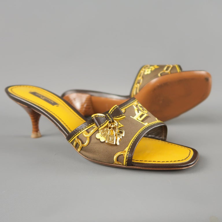 64fd166a8731 LOUIS VUITTON Size 7.5 Brown Silk Charms Cabas Kitten Heel Mules For Sale 1