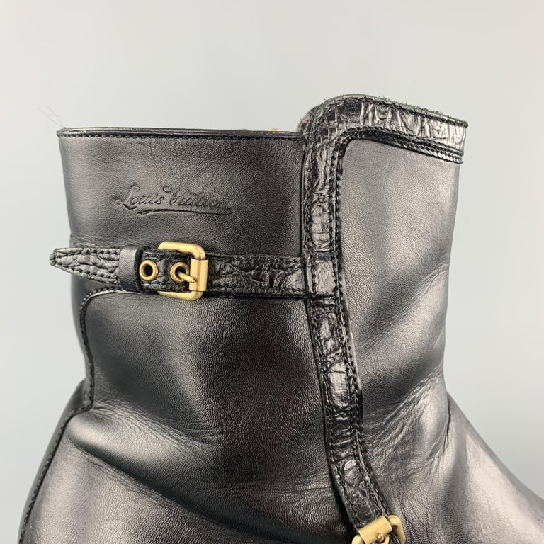 LOUIS VUITTON Size 8 Black Leather Embossed Trim Buckle Zip Boots In Good Condition For Sale In San Francisco, CA