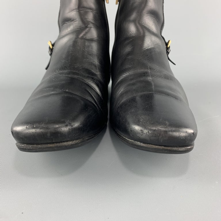 LOUIS VUITTON Size 8 Black Leather Embossed Trim Buckle Zip Boots For Sale 2