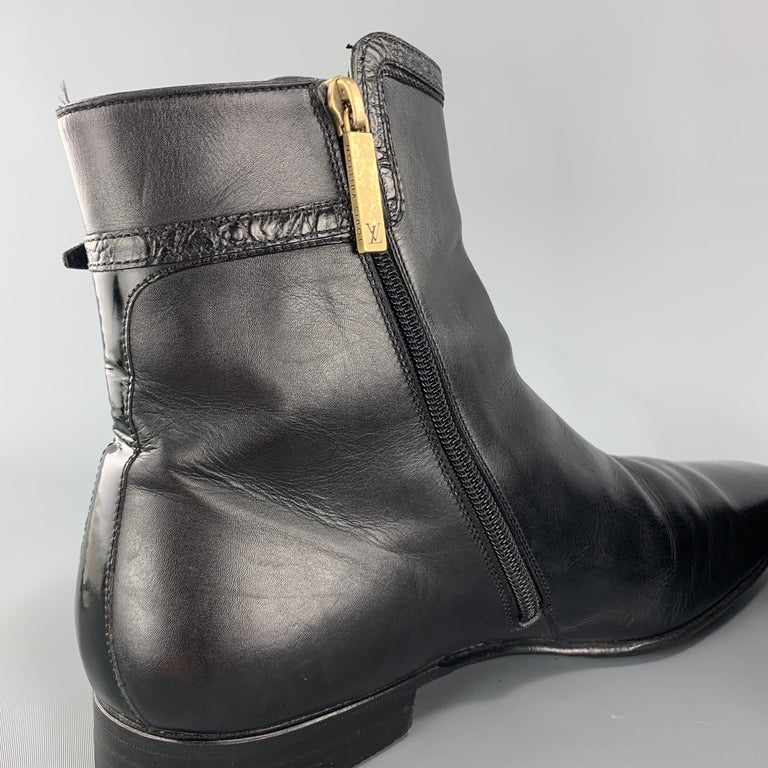 LOUIS VUITTON Size 8 Black Leather Embossed Trim Buckle Zip Boots For Sale 3