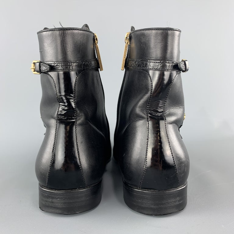 LOUIS VUITTON Size 8 Black Leather Embossed Trim Buckle Zip Boots For Sale 4