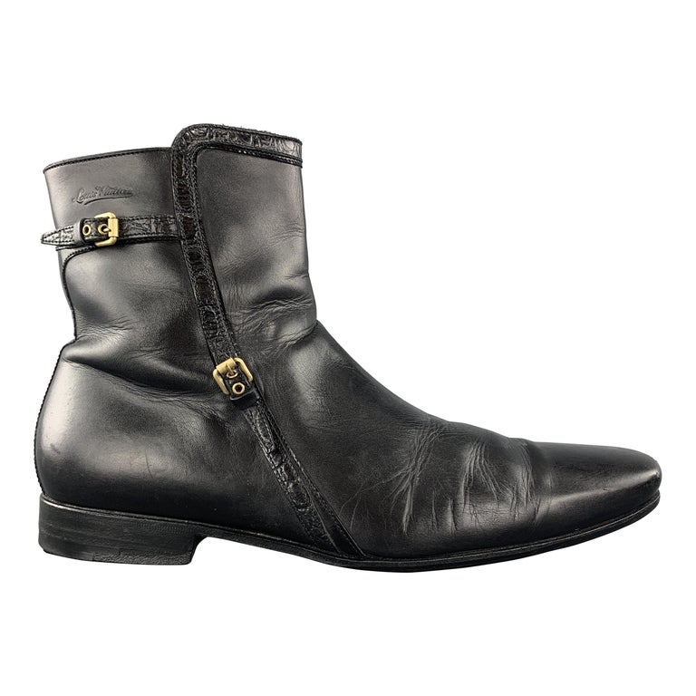 LOUIS VUITTON Size 8 Black Leather Embossed Trim Buckle Zip Boots For Sale