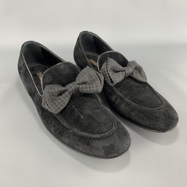 LOUIS VUITTON dress loafers come in black suede with a checkered bowtie detail. Wear throughout. As-is. Made in Italy.  Good Pre-Owned Condition. Marked: UK 8  Outsole: 11.75 x 3.75 in.