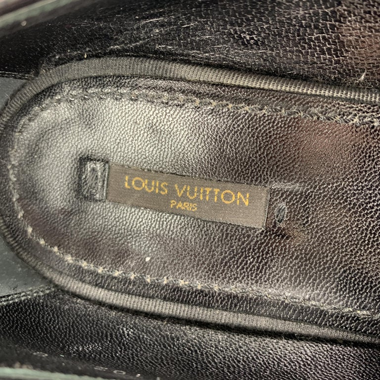 LOUIS VUITTON Size 9 Black Suede Slip On Bow Loafers For Sale 1