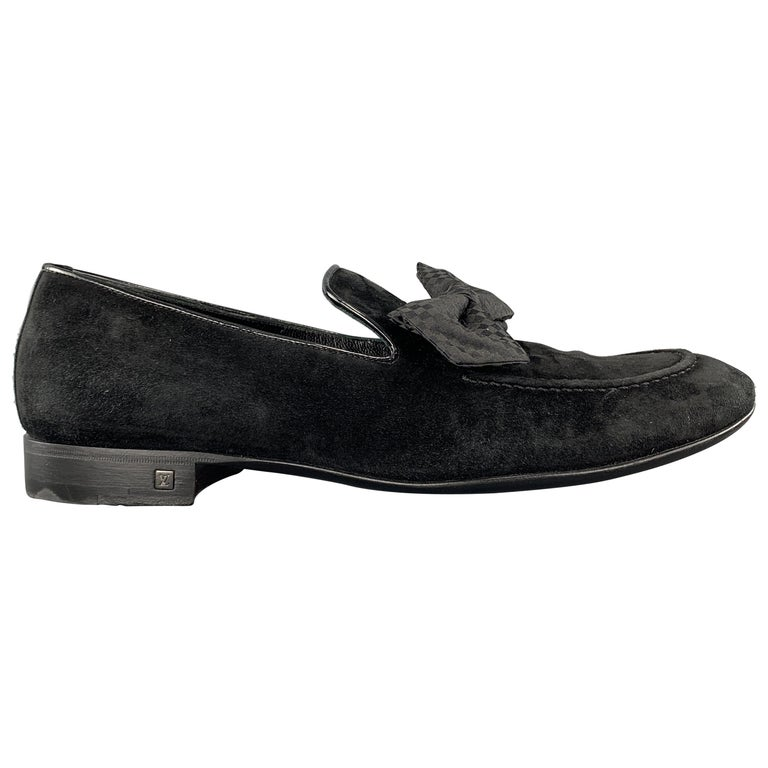 LOUIS VUITTON Size 9 Black Suede Slip On Bow Loafers For Sale