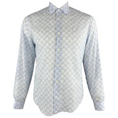 LOUIS VUITTON Size L Light Blue Leaf Print Cotton Button Up Long Sleeve Shirt