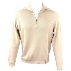 LOUIS VUITTON Size M Beige Ribbed Knit Cotton Blend Half Zip Sweater