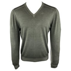 LOUIS VUITTON Size M Dyed Slate Wool Blend V-Neck Pullover Sweater
