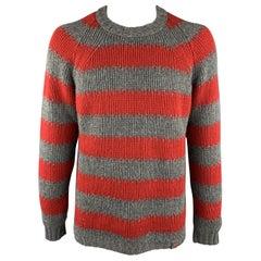 LOUIS VUITTON Size XL Gray & Red Stripe Wool / Cashmere Round Neck Sweater