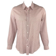 LOUIS VUITTON Size XL Rose & Brick Plaid Cotton Button Up Long Sleeve Shirt