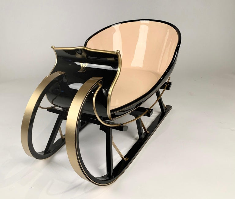 Beautiful and rare, Louis Vuitton sleigh commissioned for Louis Vuitton displays several years ago. There were only a few of these made by an artist in Norway and weren't for sale to the public. The sleigh is meticulously crafted and finished with a