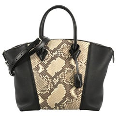 Louis Vuitton Soft Lockit Handbag Leather and Python PM