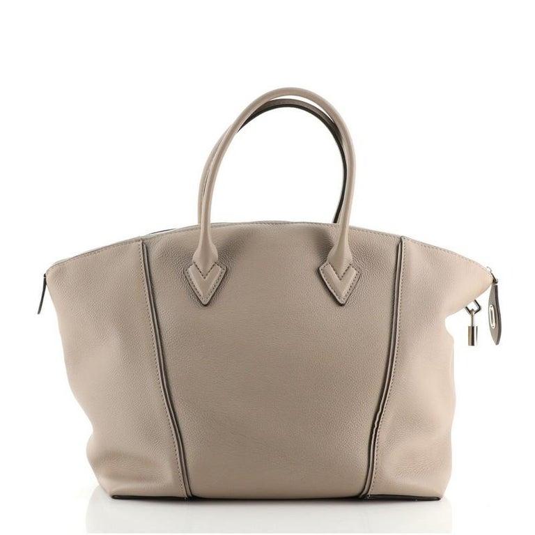 Brown Louis Vuitton Soft Lockit Handbag Leather MM For Sale