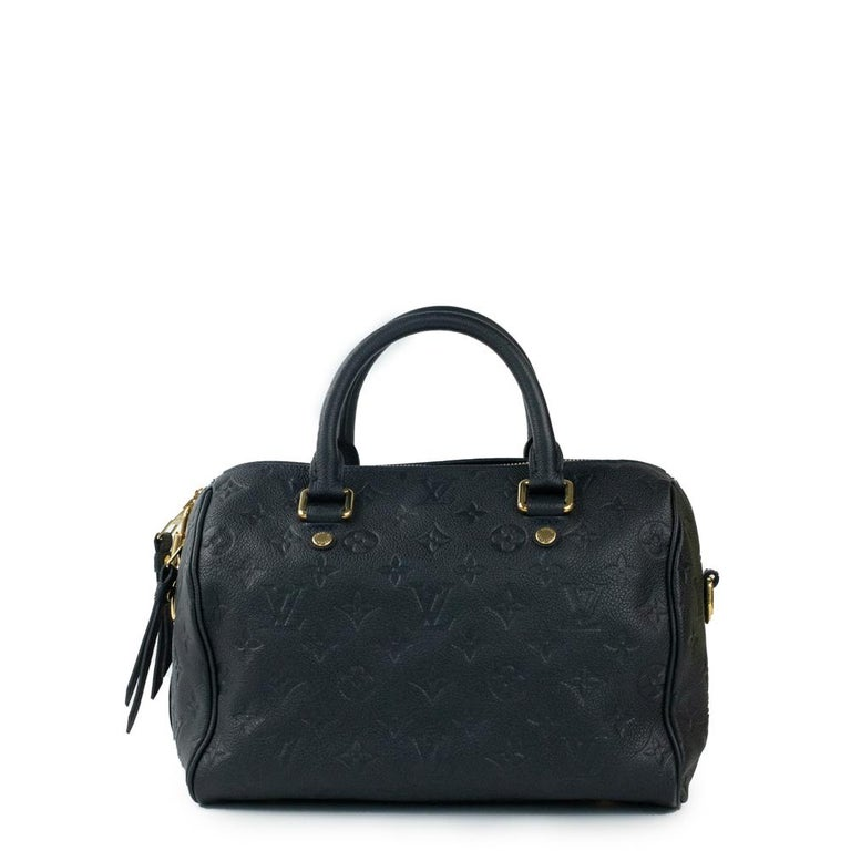 Black Louis Vuitton, Speedy 25 in blue leather For Sale